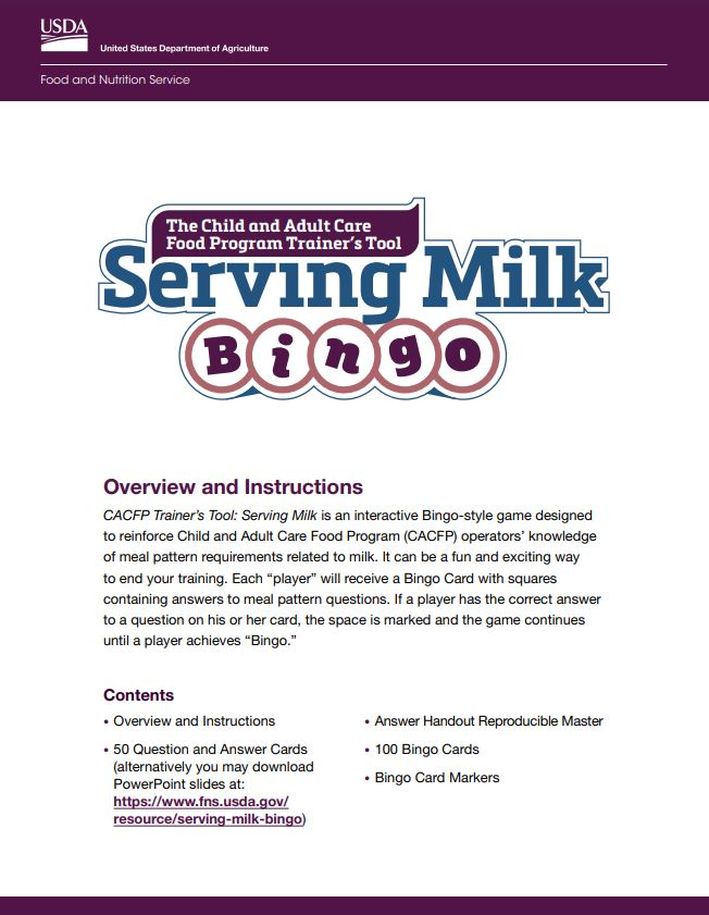 Serving Milk Bingo
