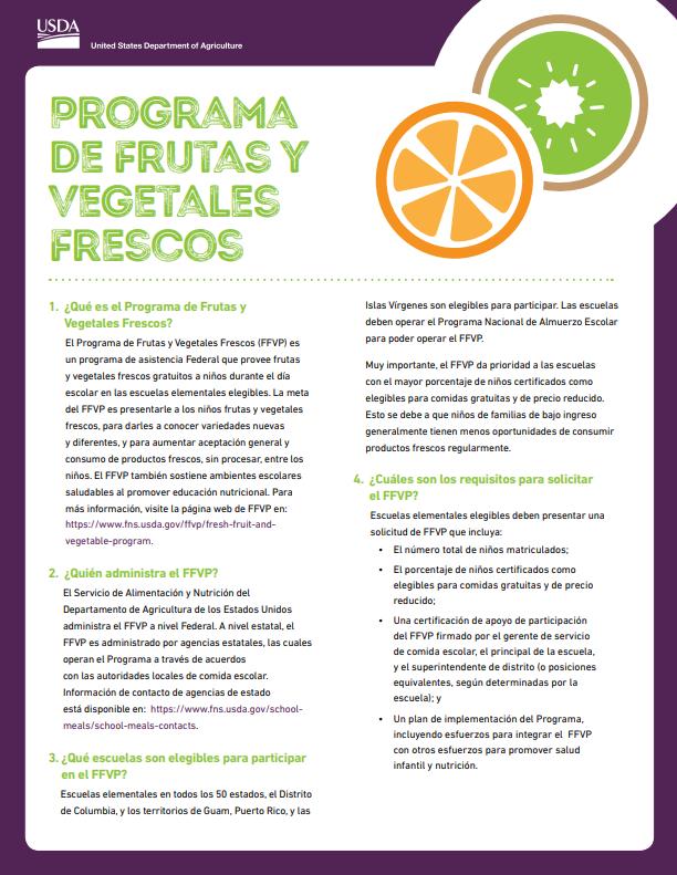 USDA's fact sheet about FFVP - Spanish Version