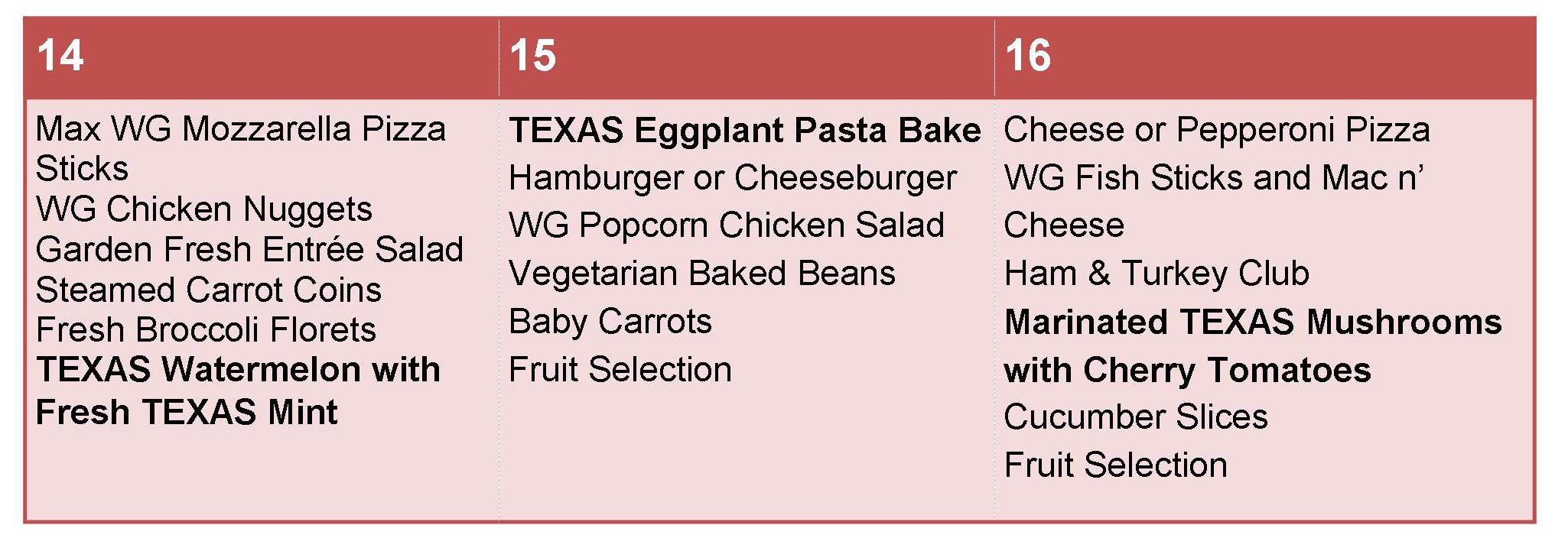 Pflugerville ISD Sample Menu