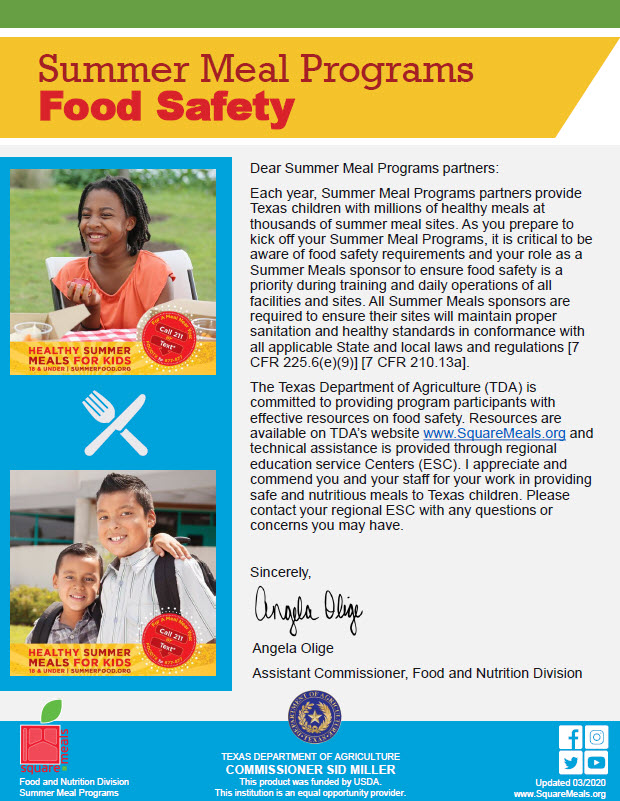Summer Food Safety Message from the Assistant Commissioner of Food and Nutrition