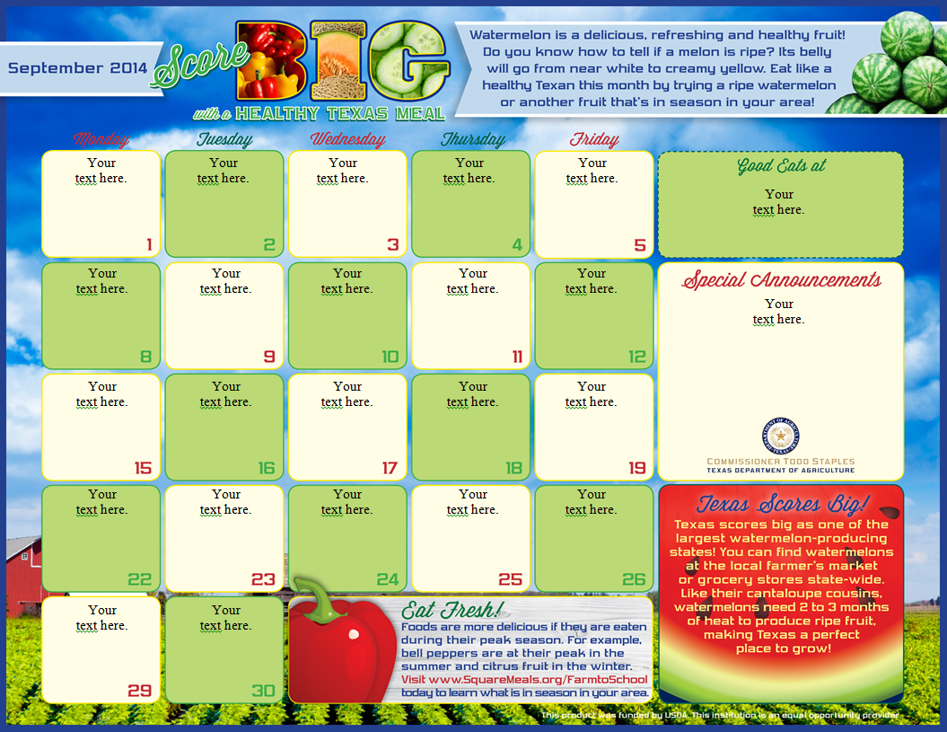Marketing promotion for Free school lunch menu templates